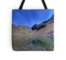mountain lake with a view Tote Bag