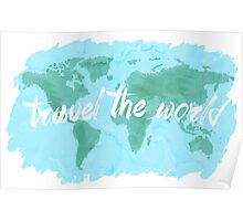 Travel the World watercolor Poster