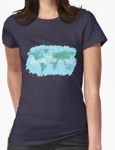 Travel the World watercolor Womens Fitted T-Shirt