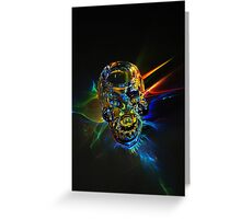 Glass skull blasting through the color wall Greeting Card