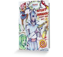 Night Invaders Light The Sky Greeting Card