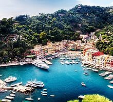 High Angle Panoramic View of Portofino Harbor, Liguria, Italy by George Oze