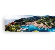 High Angle Panoramic View of Portofino Harbor, Liguria, Italy Canvas Print