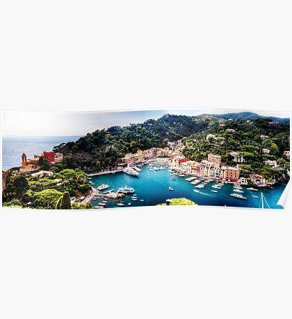 High Angle Panoramic View of Portofino Harbor, Liguria, Italy Poster
