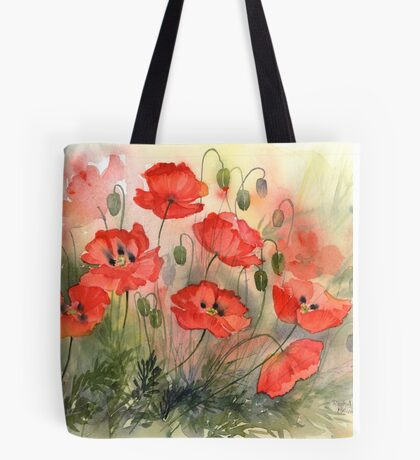 Field Poppies Tote Bag