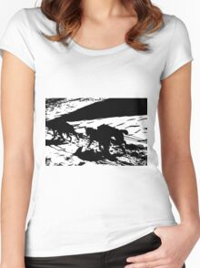 Sled Dogs in Prescott Park, Portsmouth, NH Women's Fitted Scoop T-Shirt