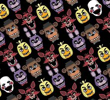 FNAF Five Nights All Over Print Multi Character by fnaftees