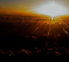 Sunset at 37000 feet      Somewhere...... by BaZZuKa