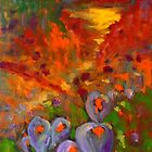 Lilies in the field (oil on stretched canvas 45 x 60 cm) by Margaret Morgan (Watkins)