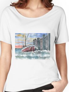 Boat and Gulls  Women's Relaxed Fit T-Shirt