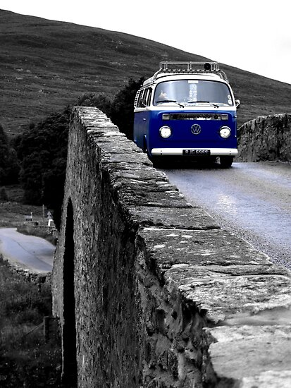 Van on ancient hump back bridge by Siegeworks .