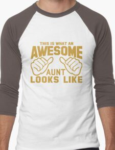 This is What an Awesome Aunt Looks Like Retro Men's Baseball ¾ T-Shirt