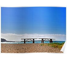 Benches on the Beach Poster