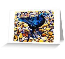 Glossy Blue-Black Raven Greeting Card