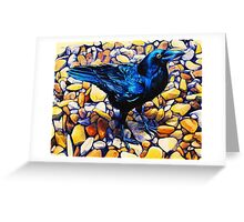 Glossy Blue-Black Raven Greeting Card