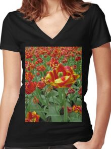 Yellow and Red Tulips photograph Women's Fitted V-Neck T-Shirt