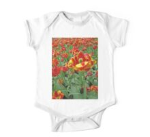 Yellow and Red Tulips photograph One Piece - Short Sleeve