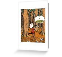 The Careless Lumberjack in the woods Greeting Card