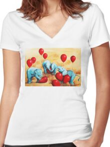 Baby Elephants Love Red Balloons Women's Fitted V-Neck T-Shirt