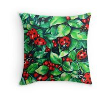 Ladybugs in the Hedge Throw Pillow