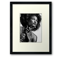 Beauty portrait of african american woman wearing jewellery black and white art photo print Framed Print