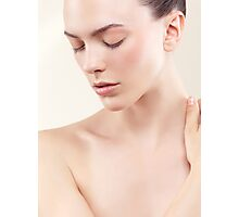Beauty portrait of young woman with clean natural skin closed eyes art photo print Photographic Print