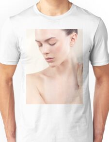 Beauty portrait of young woman with clean natural skin closed eyes art photo print Unisex T-Shirt