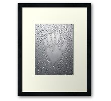 Palm print on wet metal surface art photo print Framed Print