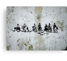 Western Cowboys Indians Horses Canvas Print