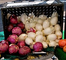 Baskets of vegies at a farmers market by Jeffrey  Sinnock