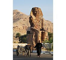 Walking by Memnon Colossus Photographic Print