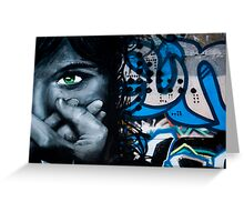 Graffiti face on the textured brick wall Greeting Card