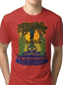 Retro Troodon in the Rushes (light-colored shirt) Tri-blend T-Shirt