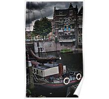 Long boat at Rotterdam. Poster