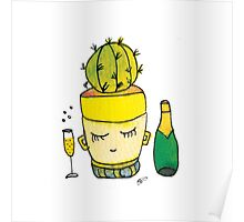 Champagne Charlotte The Drinking Cactus | Emma Watts Poster
