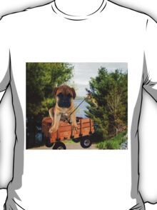 AW LOOKI THERE I CAUGHT A BITE..CUTE PUG CANINE GOES FISHING ..PICTURE...PILLOW...TOTE BAG...ECT... T-Shirt