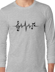 Music Pulse, Notes, Clef, Frequency, Wave, Sound, Dance Long Sleeve T-Shirt