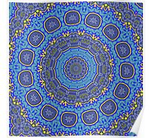 Intricate Purple, Blue  and Vivid Yellow Abstract Kaleidoscope Poster