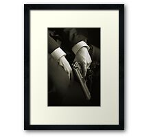 Guns' hands Framed Print