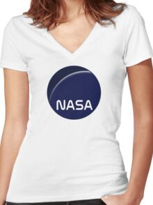 Interstellar movie NASA logo Women's Fitted V-Neck T-Shirt