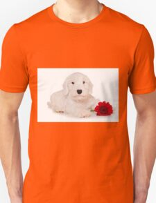 white terrier puppy and red flower Unisex T-Shirt