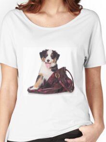 Bern Shepherd puppy and a bag Women's Relaxed Fit T-Shirt