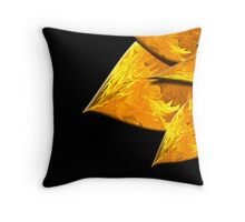Flame Leaves on Black Throw Pillow