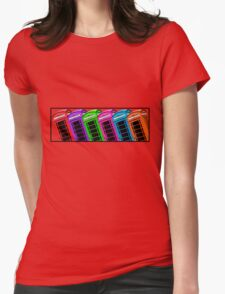 Red British Phone box 4 up Womens Fitted T-Shirt
