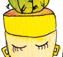 Champagne Charlotte The Drinking Cactus | Emma Watts Sticker