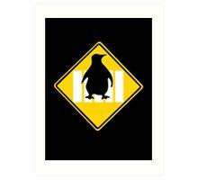LINUX TUX PENGUIN CROSSING ROAD SIGN Art Print
