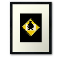 LINUX TUX PENGUIN CROSSING ROAD SIGN Framed Print