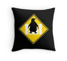 LINUX TUX PENGUIN CROSSING ROAD SIGN Throw Pillow