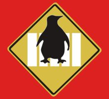 LINUX TUX PENGUIN CROSSING ROAD SIGN Baby Tee