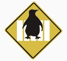 LINUX TUX PENGUIN CROSSING ROAD SIGN Kids Tee